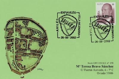 Tarjeta del matasellos de EXFIAVILES homenajeando a las desaparecidas murallas de la Villa Milenaria
