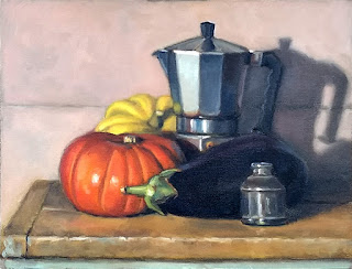 Still life oil painting of a coffee percolator beside two pumpkins, an eggplant and a small glass ink bottle.