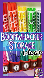Clever ideas for storing Boomwhackers in your music classroom are highlighted.  Boomwhacker storage can be inexpensive and beautiful with these ideas.