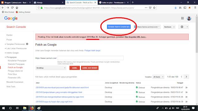 Cara Fetch as Google Menggunakan Search Console Versi Terbaru