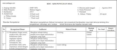 Download Kisi Kisi UTS B. Inggris Kelas 7 Semester 1/ Ganjil Kurikulum 2013/ kurtilas/ k 13 pdf docs www.soalbagus.com