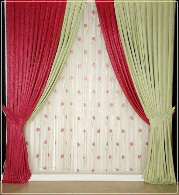 Modern window curtains red and green drapes