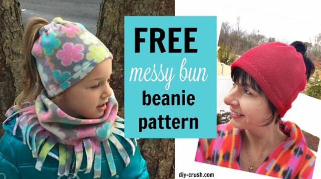Learn how to make a beanie that fits over a bun or ponytail. Tutorial by DIY Crush