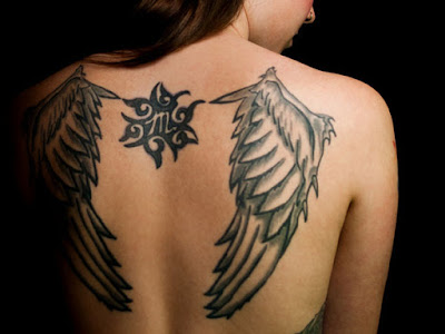 Angel Wings Tattoo On Shoulder Blade