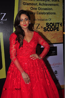 Actress Model Parul Yadav Stills in Red Long Dress at South Scope Lifestyle Awards 2016 Red Carpet  0086.JPG