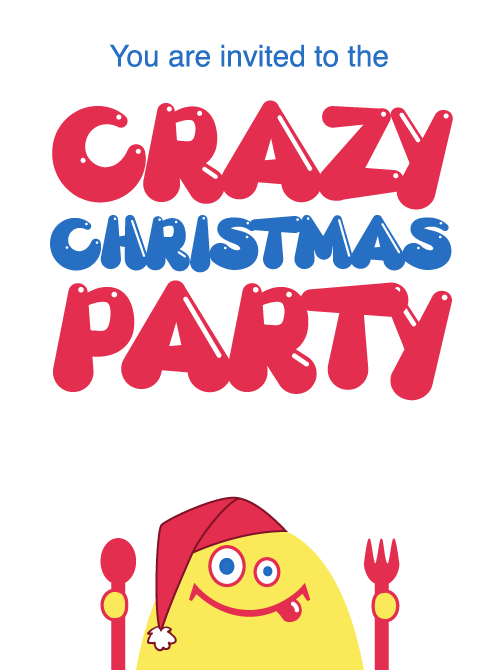 Crazy Christmas Party invitation with a crazy yellow cartoon creature