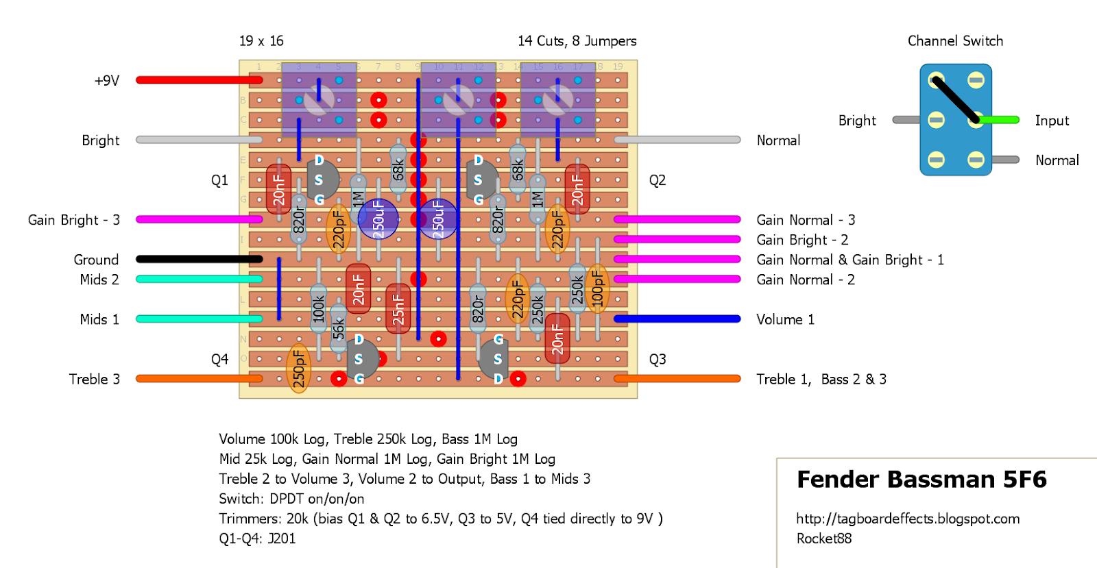 Guitar FX Layouts: Fender Bassman 5F6 Preamp