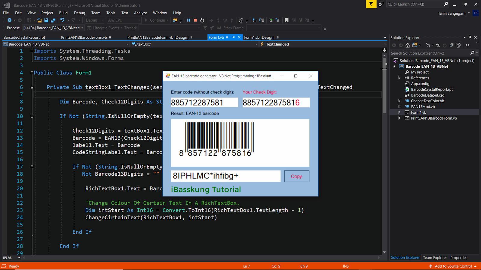 Visual Basic  Net Programming How to Create EAN-13 Barcode Generator