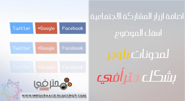إضافة أزرار مشاركة الموضوع لمواقع التواصل الإجتماعي تحت التدوينة.