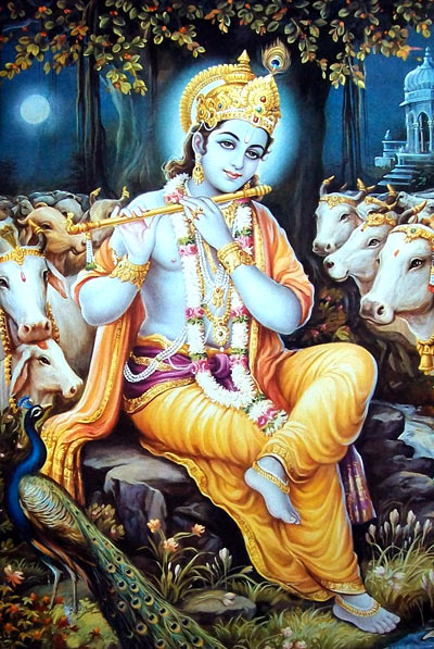 Krishna with Cow Photo