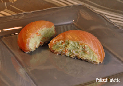 entrée festive, recette pour Pâques, dômes au saumon, saumon fumé