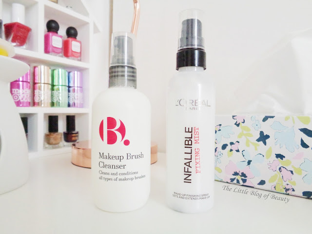 The make-up sprays you need. B. Makeup brush cleanser& L'Oreal Infallible Fixing mist