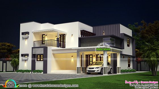Flat roof modern 2430 sq-ft house