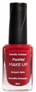 Esmalte Panvel Make Up Vermelho Arrasador: R$ 4,35