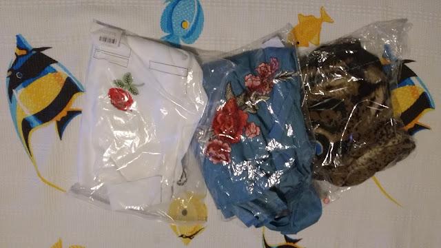Recebidos Loja Rosegal blusas, blusa branca, blusa tigre, blusa jeans