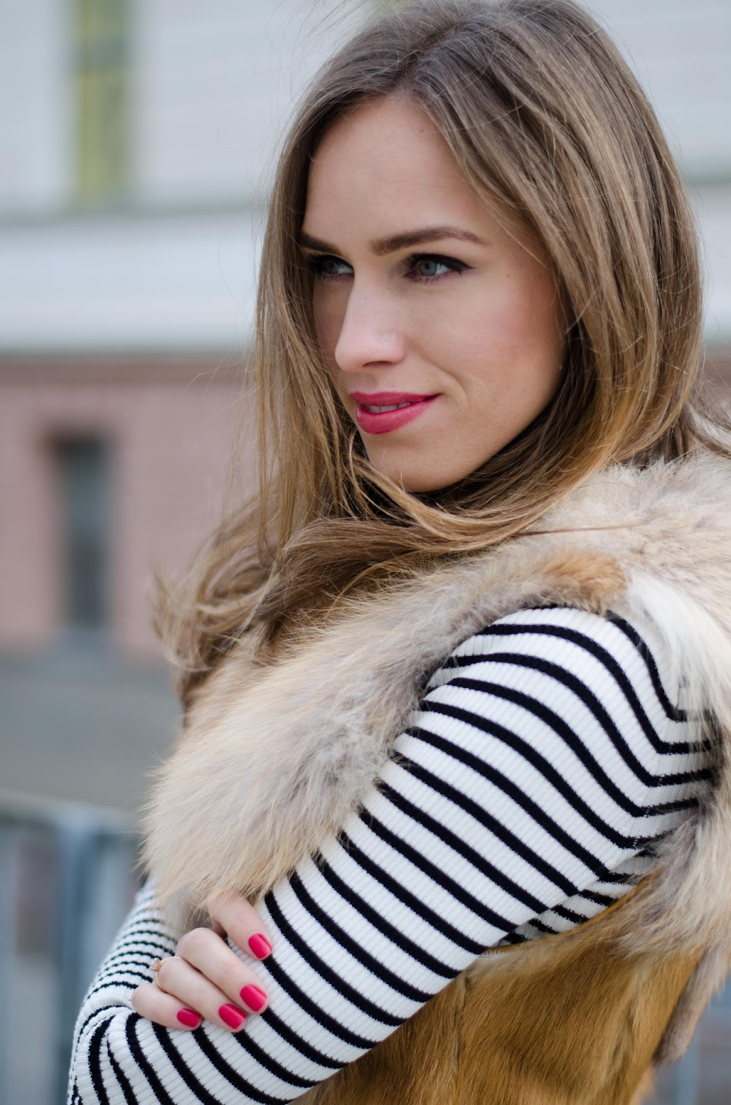 kristjaana mere striped shirt fur vest
