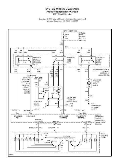 1997 Ford Windstar System Wiring Diagrams For Front Washer    Wiper Circuit