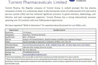 Walk in interview @ Torrent pharma for QC on 24/02/2019