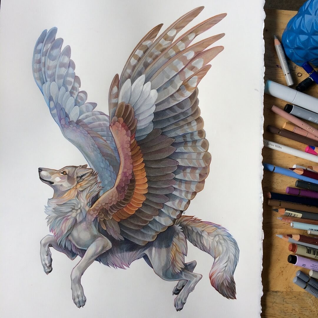 12-Winged-Wolf-Grace-Fantasy-Animals-Colored-Pencils-Drawings-www-designstack-co