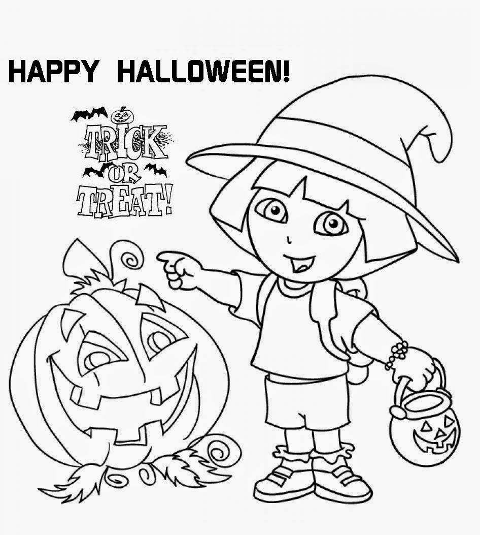 Free dora the explorer halloween coloring pages ~ Printable Dora The Explorer Halloween Coloring Page