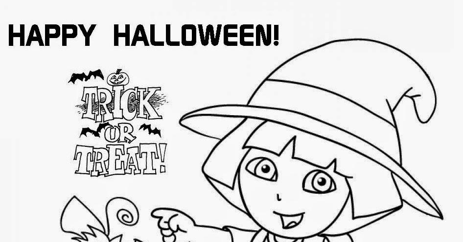 Printable dora the explorer halloween coloring page for Dora halloween coloring pages