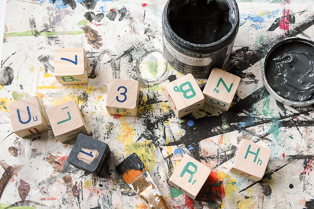 Painting Dollar Tree alphabet blocks