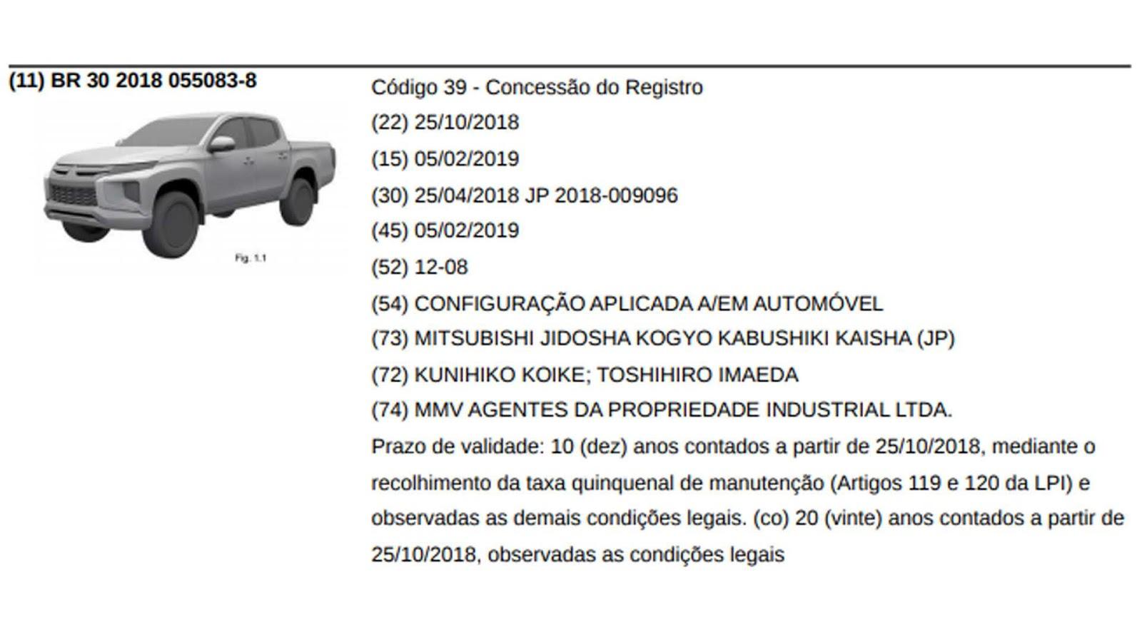 7da4e8be7403e Mitsubishi L200 Triton reestilizada é registrada no INPI e ...