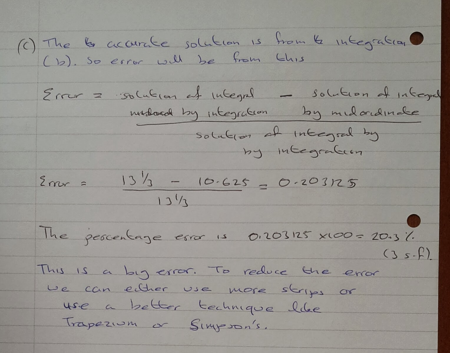 A Level Maths Notes: A2 Numerical Methods: errors between