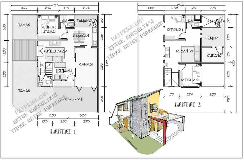 denah rumah hook 2 lantai 4