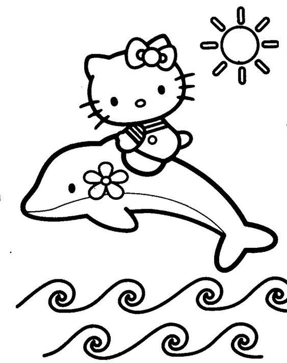 Tranh tô màu mèo hello kitty và chú cá heo