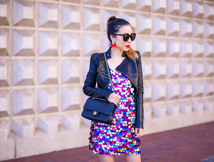 asos disco sequin embellished dress, leather jacket, fall night out, chanel classic flap bag, alice and oliva lace up booties, lace up booties, karen walker super dumper sunglasses, night out ideas, san francisco fashion blog, san francisco street  style