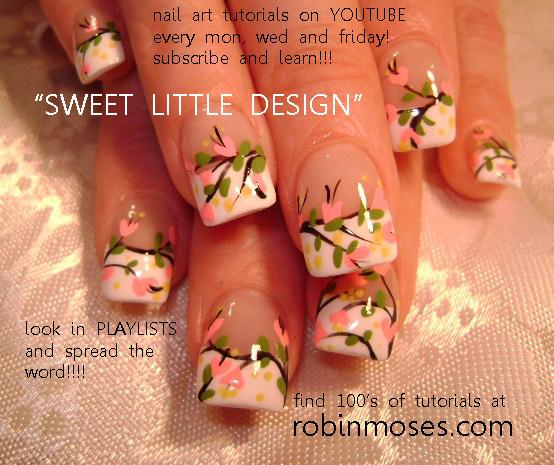 Nail Art By Robin Moses Pink And Green Nail Pink Filigree