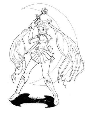 Sailor Moon - encrage après scan en noir et blanc