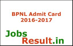 BPNL Admit Card 2016-2017