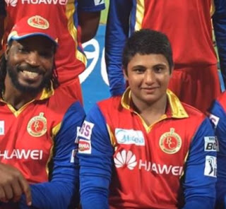 Sarfaraz Khan RCB along with Chirs Gayle IPL