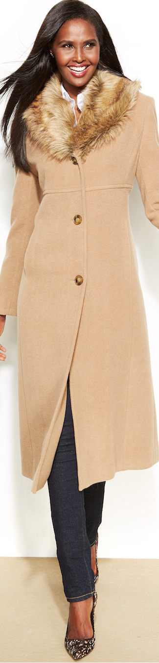 Jones New York Faux Fur Collar Coat