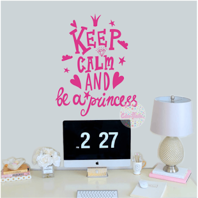vinilo decorativo pared frase tipografico Keep Calm and Be A Princess