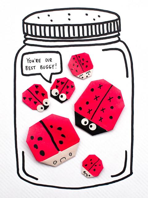 make origami ladybug valentines- super cute bug themed Valentine's day craft