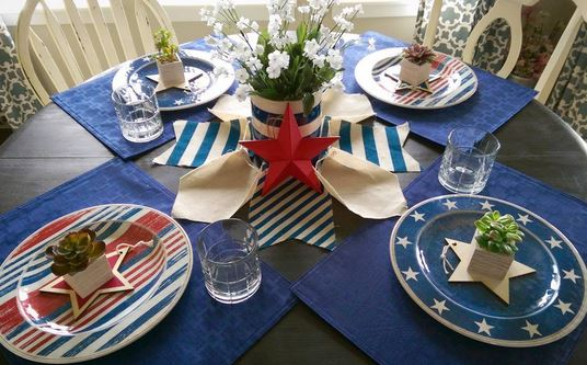 red white and blue table decor