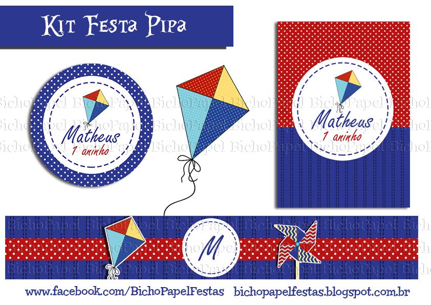 Kit Festa Pipa azul e vermelho