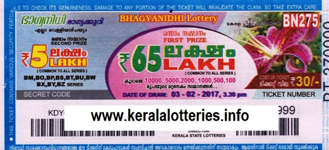 Kerala lottery result official copy of Bhagyanidhi (BN-95)