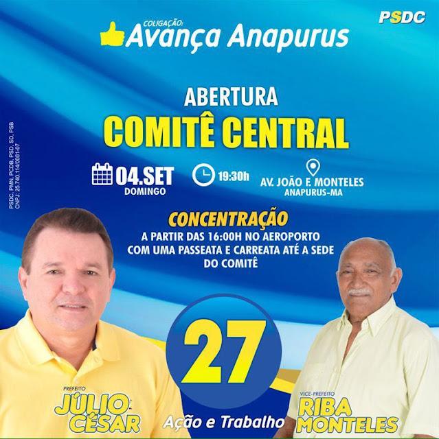 É HOJE! Mega Carreata marcará grande festa política do futuro prefeito de Anapurus, Júlio César, na inauguração do Comitê.