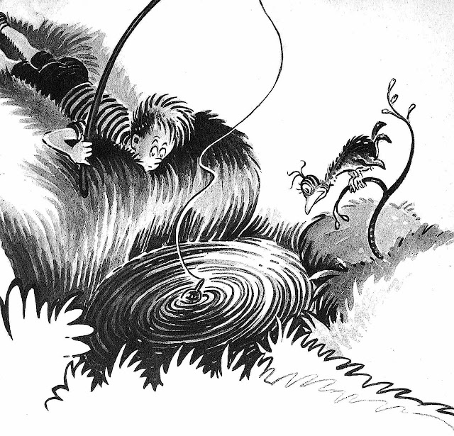 a 1947 Dr. Seuss children's book illustration about a fishing hole