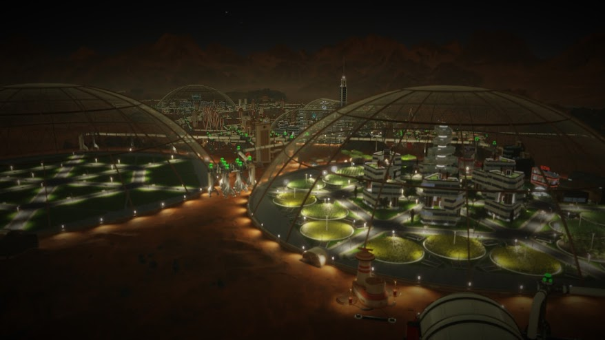 Domed human colony on Mars from Surviving Mars game