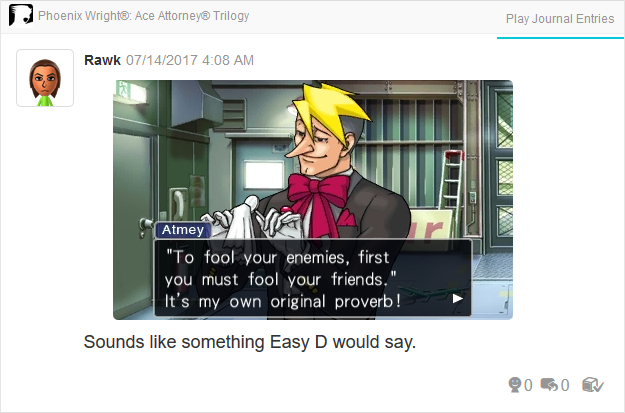 Phoenix Wright Ace Attorney Trials and Tribulations Luke Atmey proverb fool enemies friends