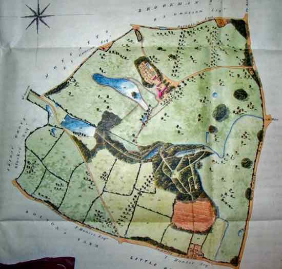 Plate VI. Map accompanying the conveyance of 1836 showing the gardens  much simplified by this date – in the valley to the south of Gobions house  Courtesy: Hertfordshire Archives and Local Studies (Permission to use image pending)