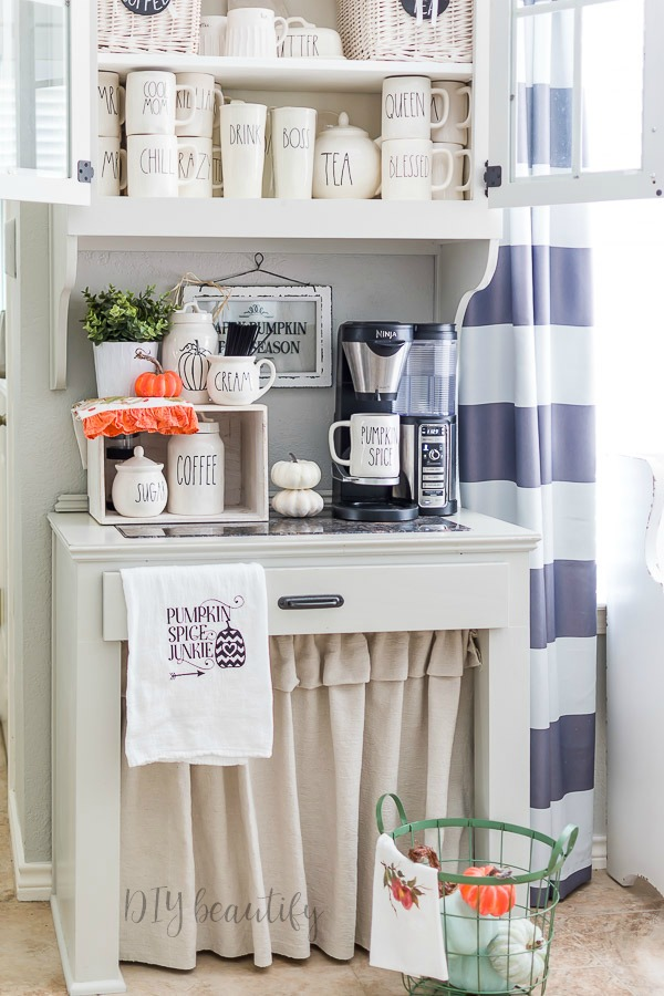 fall coffee station and Rae Dunn collection