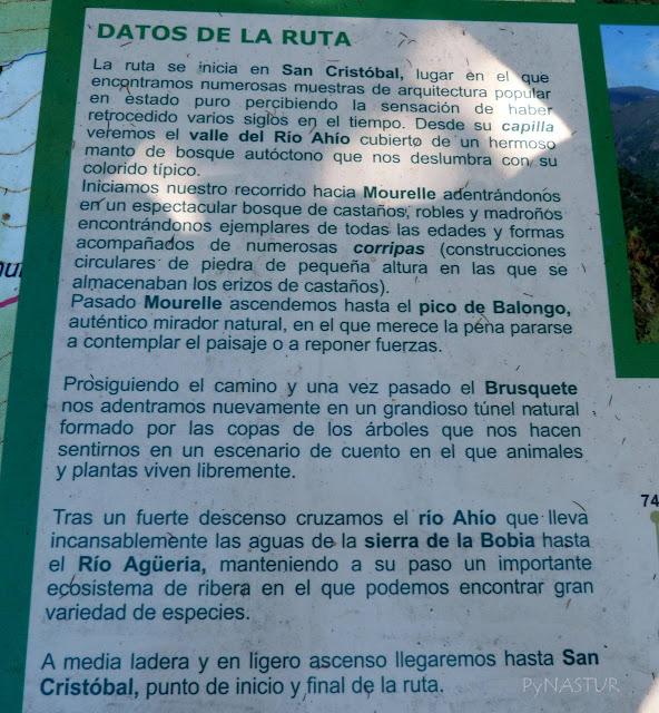 Panel descriptivo de La Ruta del Silencio - Asturias