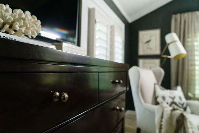 Benjamin Moore Iron Mountain black paint in beautiful bedroom designed by Sherry Hart of Design Indulgence for ORC.
