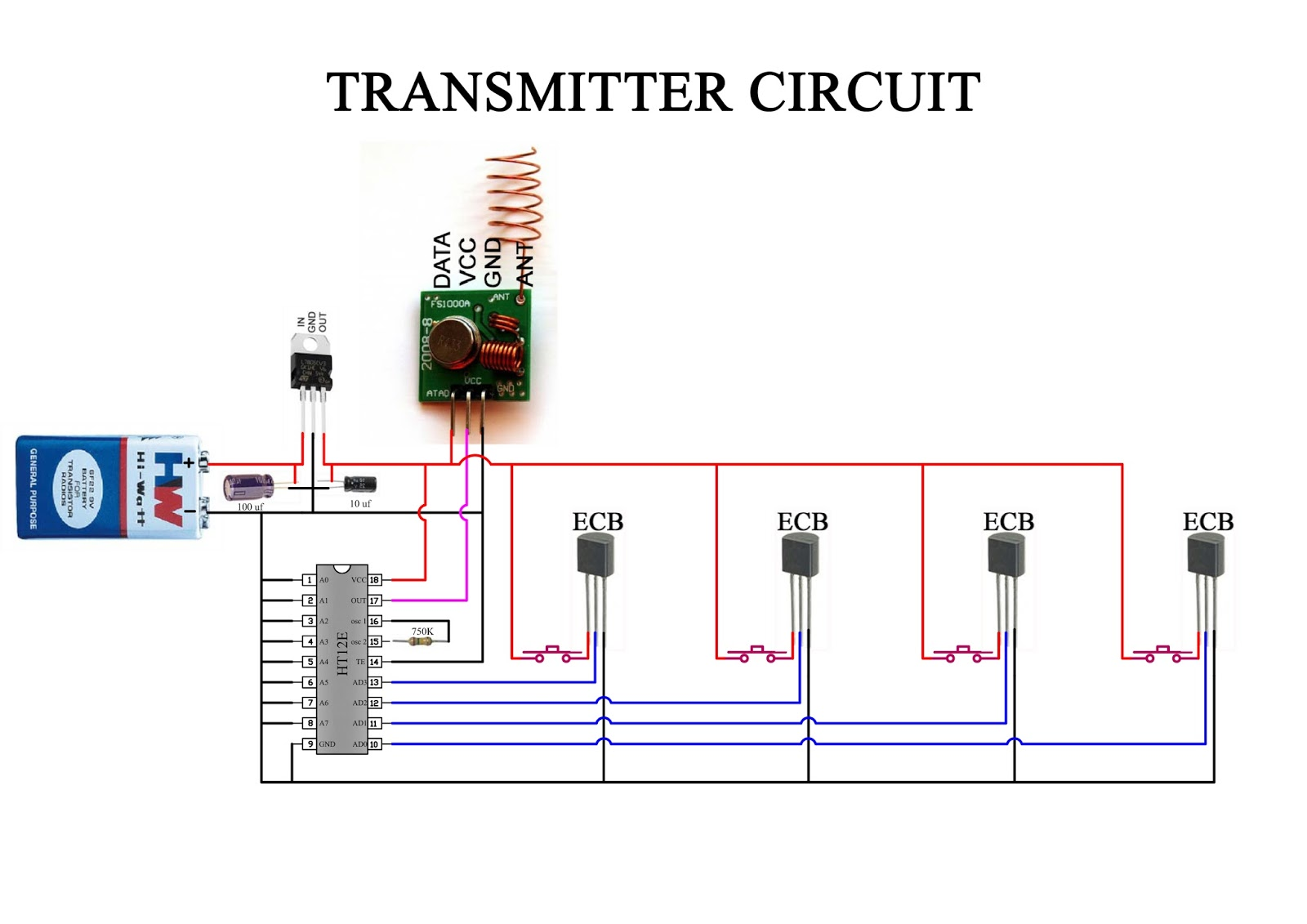 How to make RF (433mhz)Transmitter and Receiver circuit ...